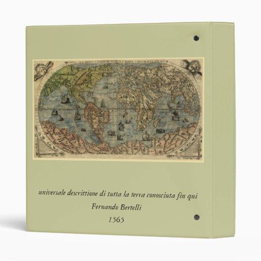 1565 Ferando Berteli (Fernando Bertelli) World Map Vinyl Binder