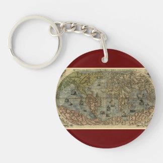 1565 Ferando Berteli (Fernando Bertelli) World Map Double-Sided Round Acrylic Keychain