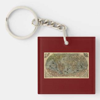 1565 Ferando Berteli (Fernando Bertelli) World Map Double-Sided Square Acrylic Keychain
