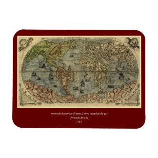 1565 Ferando Berteli (Fernando Bertelli) World Map Magnet