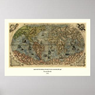 1565 Ferando Berteli (Fernando Bertelli) World Map Posters