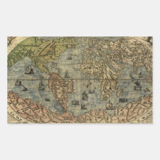 1565 Ferando Berteli (Fernando Bertelli) World Map Rectangular Sticker