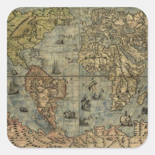 1565 Ferando Berteli (Fernando Bertelli) World Map Square Sticker