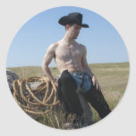 15693-RA Cowboy Classic Round Sticker