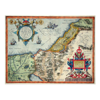 1570 Palestinae Hondius - Vintage Map Postcard