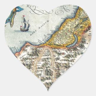 1570 Palestinae Hondius - Vintage Map Heart Sticker