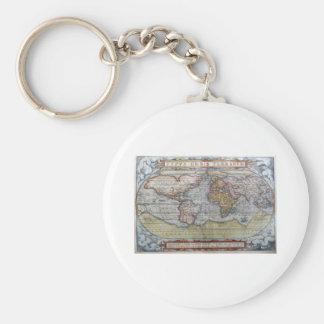 1572 Typus Orbis Terrarum Ortelius World Map Basic Round Button Keychain