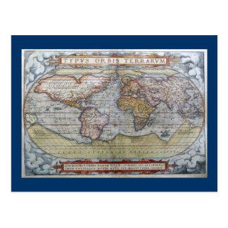 1572 Typus Orbis Terrarum Ortelius World Map Postcard