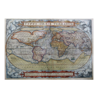 1572 Typus Orbis Terrarum Ortelius World Map Poster