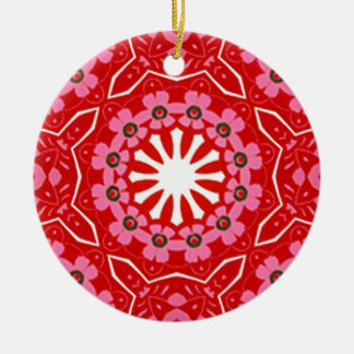 157 RED WHITE PINK LACE SNOWFLAKE PATTERN DIGITAL ORNAMENT