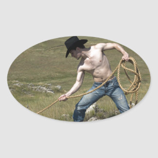 15807-RA Cowboy Oval Sticker