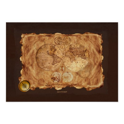 1580 Old World Map Art on Parchment-styled BG Poster