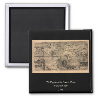 1581 Antique World Map by Nicola van Sype 2 Inch Square Magnet