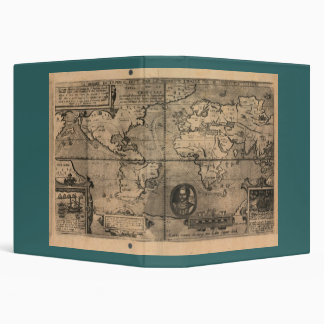 1581 Antique World Map by Nicola van Sype 3 Ring Binder