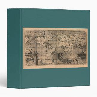1581 Antique World Map by Nicola van Sype Binder