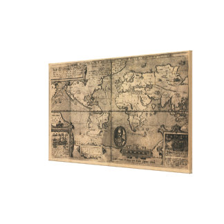 1581 Antique World Map by Nicola van Sype Canvas Print