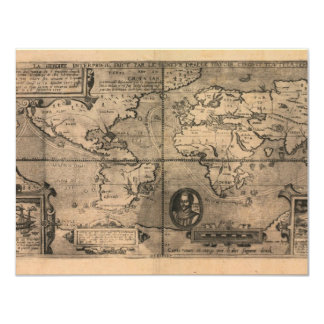 1581 Antique World Map by Nicola van Sype Card