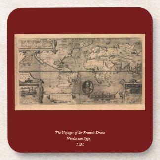 1581 Antique World Map by Nicola van Sype Coaster
