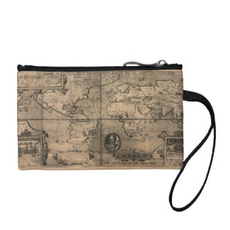1581 Antique World Map by Nicola van Sype Coin Wallet