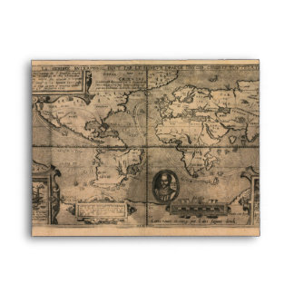 1581 Antique World Map by Nicola van Sype Envelope