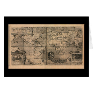 1581 Antique World Map by Nicola van Sype Greeting Card