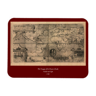 1581 Antique World Map by Nicola van Sype Magnet