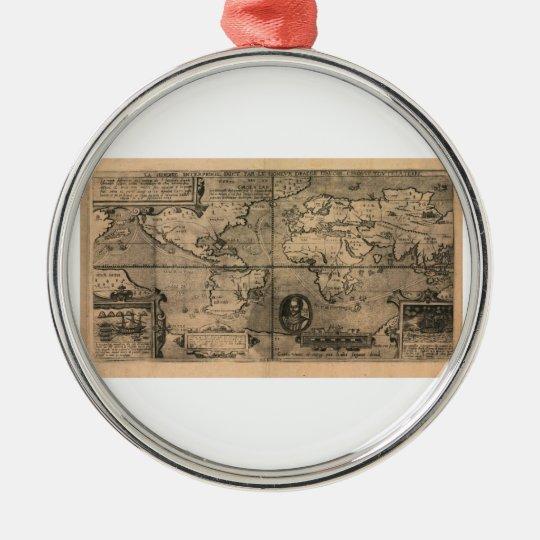 1581 Antique World Map by Nicola van Sype Metal Ornament