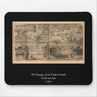 1581 Antique World Map by Nicola van Sype Mousepads