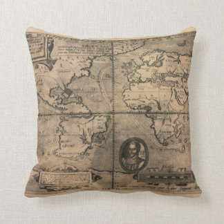 1581 Antique World Map by Nicola van Sype Throw Pillow