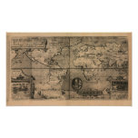 1581 Antique World Map by Nicola van Sype Posters