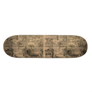 1581 Antique World Map by Nicola van Sype Skateboard