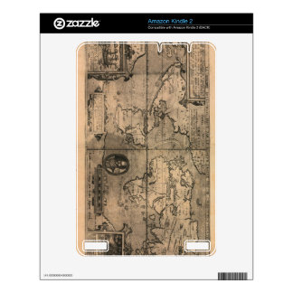 1581 Antique World Map by Nicola van Sype Skins For Kindle