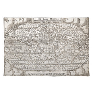 1582, Antique World Map Cloth Placemat