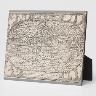 1582, Antique World Map Photo Plaque
