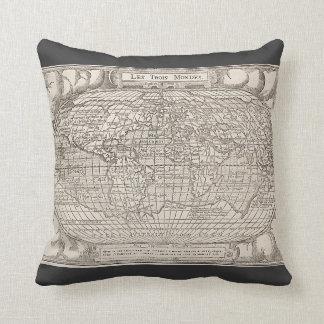 1582, Le Trois Mondes Antique Map Throw Pillow