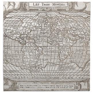 1582, mapa del mundo antiguo servilleta