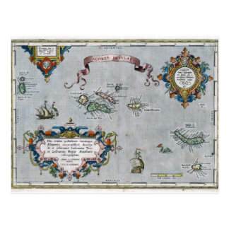 1584 Azores Map Postcard