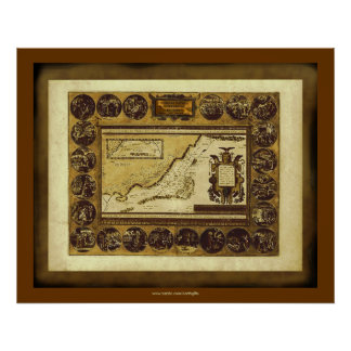 1586 Ortelius Holy Lands Vintage Map Art Poster