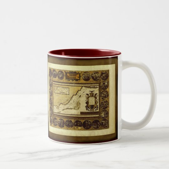 1586 Patriarch Abraham Antique Map Series Two-Tone Coffee Mug