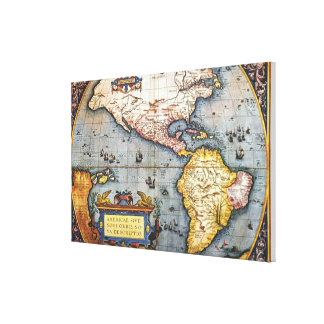 1587 Map of the Americas Canvas Print