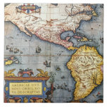 1587 Map of the Americas Ceramic Tile