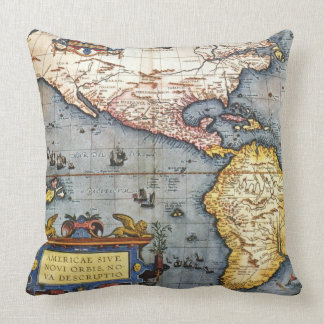 1587 Map of the Americas Pillow