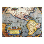 1587 Map of the Americas Post Card