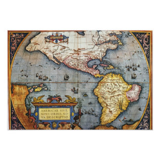 1587 Map of the Americas Poster
