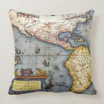 1587 Map of the Americas Throw Pillow