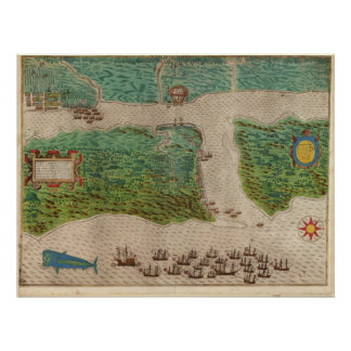 1589 Map - Drake's Voyage - St. Augustine, Florida Poster