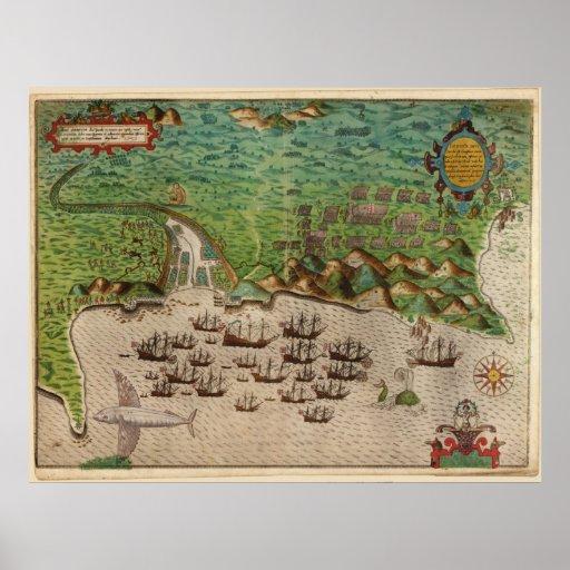 1589 Map Sir Francis Drake's Voyage - Santiago Poster