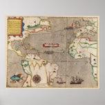 1589 Map Sir Francis Drake's West Indies Voyage Print