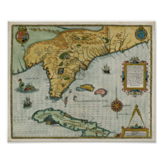 1591 Map of Florida Poster
