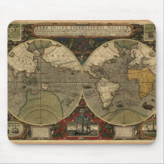 """1595 Hondius Worlde Map"" Mouse Pad"
